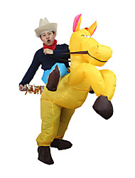 Yellow Cowboy Horse Outfit Funny Inflatable Costume Halloween Carnival Cosplay Cow Boy Rider Horse Inflatable Costume For Adults