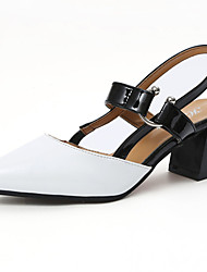 Women's Sandals Summer Comfort PU Outdoor Low Heel Black White