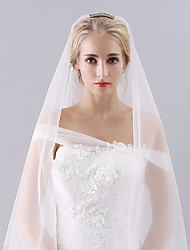 Rhinestone Comb Wedding Veil Two-tier Fingertip Veils Headpieces with Veil Cut Edge Tulle By Hand