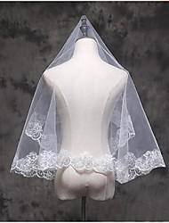 Véus de Noiva Uma Camada Véu Cotovelo Véu Ponta dos Dedos Borda com aplicação de Renda Tule Renda