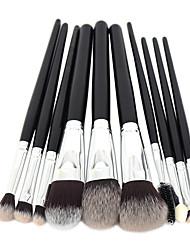 10Conjuntos de pincel Pincel para Blush Pincel para Sombra Pincel para Lábios Pincel de Sombrancelha Cílio Escova Pincel para Corretivo