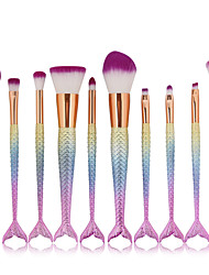 10pcs Mermaid Pro Makeup Comestic Brushes Set Foundation Blend Powder Contour Blush Brush