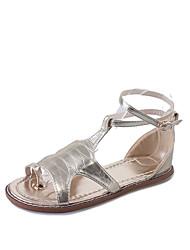 Для женщин Сандалии Обувь через палец Полиуретан Лето Повседневные Для прогулок Обувь через палец Пряжки На низком каблукеЗолотой Белый