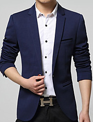 Men's Solid Casual / Work Blazer,Cotton / Acrylic / Nylon Long Sleeve Black / Blue / Red / Beige 916304