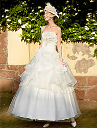 Ball Gown Princess Strapless Floor Length Organza Wedding Dress with Beading Appliques Flower Pick-Up Tiered by