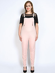 Really Love Women's High Rise Jumpsuits,Vintage Simple Cute Straight Slim Solid