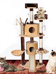 Brinquedo Para Gato Brinquedos para Animais Interativo Tubos e Túneis Durável Tapete de Arranhar Madeira Felpudo Bege Marron