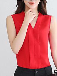 Women's Casual/Daily Simple Blouse,Solid V Neck Sleeveless Silk