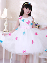 Ball Gown Knee-length Flower Girl Dress - Cotton Satin Tulle Jewel with Bow(s) Flower(s) Pearl Detailing Sash / Ribbon