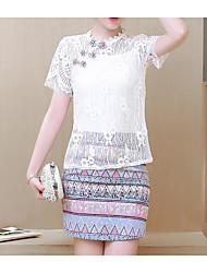 Tee-shirt Femme,Jacquard Sortie simple Printemps Eté Manches Courtes Col Arrondi Rayonne Fin