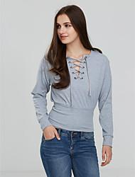 Damen Solide Niedlich Lässig/Alltäglich T-shirt,Rundhalsausschnitt Herbst Winter Langarm Baumwolle Mittel