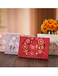 Top Fold Wedding Invitations Invitation Cards-50 Piece/Set Flora Style Butterly StyleHigh quality paper Hard Card Paper Card paper Card
