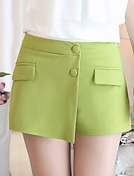 Femme simple Taille Haute Micro-élastique Chino Short Pantalon,Mince Perlé Effets superposés Couleur Pleine
