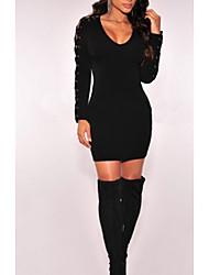AliExpress explosion models in Europe and America long-sleeved dress sexy nightclub Slim bandage skirt