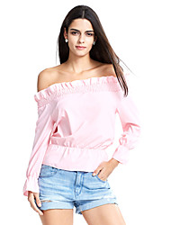 Women's Off The Shoulder|Ruffle Casual/Daily Street chic Peplum Off-The-Shoulder Summer T-shirt,Solid Boat Neck Long Sleeve