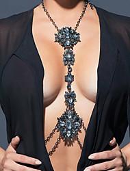 Big Crystal Gem Chain Body Boho Long Maxi Bijoux Collier Femme High Luxury Vintage Statement Necklace Body Jewelry