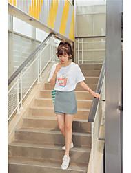 Femme Taille Haute Mini Jupes,Trapèze Couleur Pleine