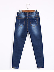 Women's High Rise High Elasticity Jeans Pants,Simple Skinny Solid