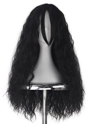 Synthetic Women Adult Long Kinky Curly Taro Hair Natrual Black Color Fashion Movie Cosplay Costume Wig with Straight Bangs for Halloween Party