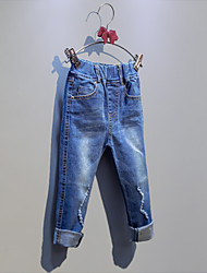 Para Meninas Jeans Casual Cor Única Primavera