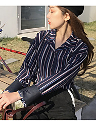 Women's Casual/Daily Vintage Summer Fall Blouse,Striped Shirt Collar Long Sleeve Blue Brown Cotton Thin
