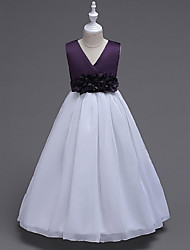 Ball Gown Floor-length Flower Girl Dress - Organza V-neck with Bow(s) Draping Flower(s)