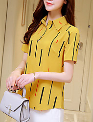 Women's Casual/Daily Simple Summer Blouse,Striped Shirt Collar Short Sleeve Silk Cotton Opaque