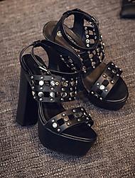 Sapatos femininos t-strap sintético casual preto