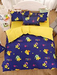 Floral Duvet Cover Sets 4 Piece Pattern Reactive Print  Twin Full Queen King 1pc Duvet Cover 2pcs Shams 1pc Flat Sheet