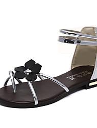 Sandálias das mulheres solas solares de conforto verão PU flor casual