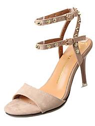 Women's Sandals Summer Gladiator PU Outdoor Office & Career Walking Stiletto Heel Buckle Almond Yellow Black