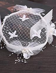 Tulle Imitation de perle Filet Casque-Mariage Occasion spéciale Extérieur Fleurs Chapeau Epingle à Cheveux 1 Pièce