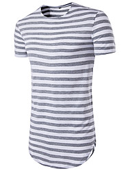 Men's Sports Casual/Daily Street chic T-shirt,Striped Round Neck Short Sleeve Polyester