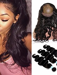 8A Indian Body Wave 360 Frontal With Bundles 360 Lace Frontal Closure With Bundles Human Hair