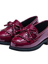 Girls' Flats Spring Fall First Walkers PU Outdoor Casual Low Heel Magic Tape Burgundy Black Walking