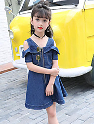 Girl's Casual/Daily Beach Holiday Solid Dress,Cotton Summer Short Sleeve