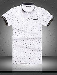 Herren Geometrisch Einfach Lässig/Alltäglich T-shirt,Klassischer Kragen Kurzarm Baumwolle