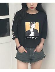 Tee-shirt Femme,Imprimé Décontracté / Quotidien simple Manches ¾ Col Arrondi Nylon