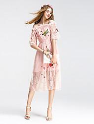 Damen A-Linie Spitze Kleid-Ausgehen Lässig/Alltäglich Urlaub Sexy Street Schick Anspruchsvoll Stickerei Schulterfrei Midi Kurzarm