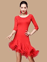 Devrions-nous des robes de danse latines femmes polyester tulle costume de danse 2 pièces