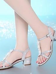 Женские сандалии весна комфорт пу случайные серебро золото