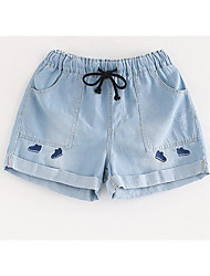 Women's Low Rise Inelastic Jeans Shorts Pants,Simple Bootcut Solid