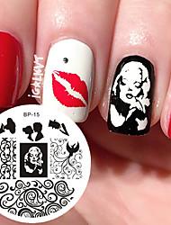 Marilyn monroe шаблон ногтей печать штамп изображение изображение пластина родился довольно ногтей штамповки пластин bp15 украшения ногтей