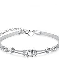 Femme Chaînes & Bracelets Imitation de diamant Bricolage Plaqué argent Forme de Cercle Bijoux PourMariage Soirée Occasion spéciale