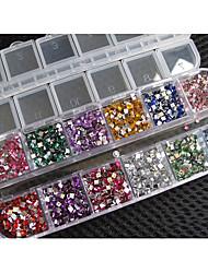 1x 3000pcs Squrare Rhinestones Nail Art Case for Acrylic Tips UV Gel Decoration