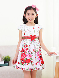 Girl's Fashion And Lovely Short Sleeve Printed Vest Rose Bitter Fleabane Bitter Fleabane Princess Dress