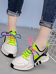 Women's Athletic Shoes Spring Fall Breathe Freely Casual Comfort All Match Outdoor Athletic Low Heel Lace-up Black White Walking