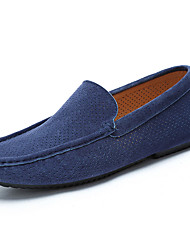 Men's Shoes Suede Spring Fall Moccasin Loafers & Slip-Ons Walking Shoes Split Joint For Casual Gray Dark-Gray Blue Khaki Light Green