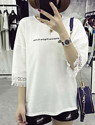 Damen Buchstabe Einfach Ausgehen T-shirt,Rundhalsausschnitt ½ Länge Ärmel Baumwolle