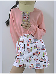 Women's High Rise Knee-length Skirts A Line Chiffon Print